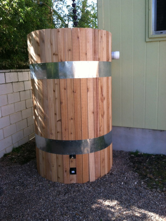 Rain Tank - We did a custom cedar fitting to the exterior of this rain tank to help it blend in with the rest of the outdoor decor.