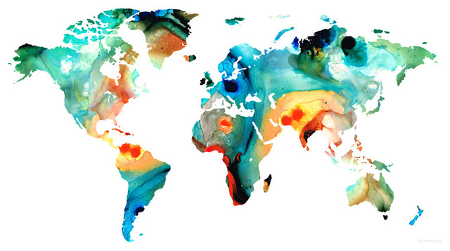 Maps world and us maps large colorful unique wall art for Kitchen colors with white cabinets with kids world map wall art