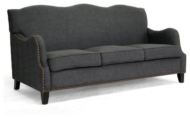 Penzance dark gray linen sofa traditional sofas for Grey traditional sofa