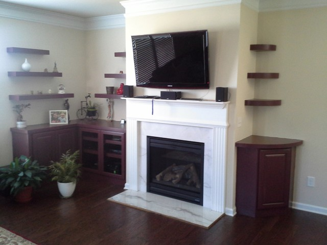 Fireplace Built Ins With Staggered Floating Shelves