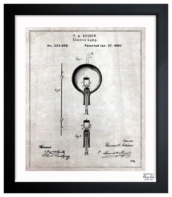 """'Edison Electric Lamp 1880' Framed Wall Art 15"""" x 18"""" eclectic-artwork"""