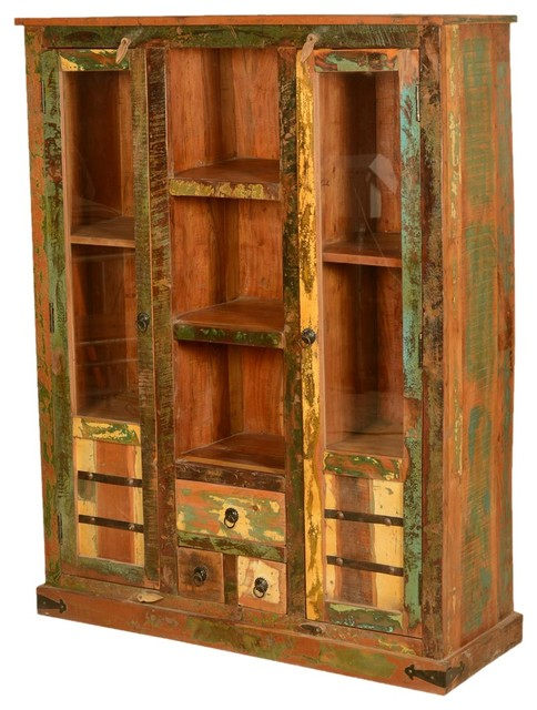 Speckled Rustic Reclaimed Wood Display Cabinet w Glass Doors eclectic ...