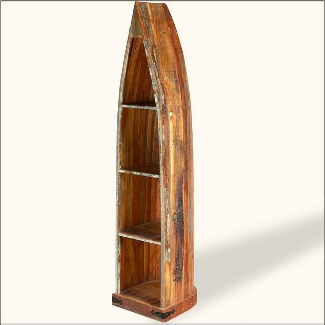 Standing Canoe Rustic Old Wood Open Curio Shelf Cabinet - Eclectic - Storage Cabinets - austin ...
