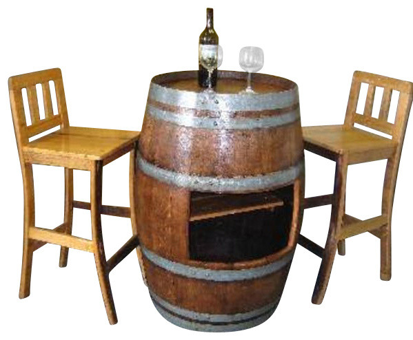 Oak Wood Wine Barrel Bar Table Base With Shelf Opening To Use With SHT