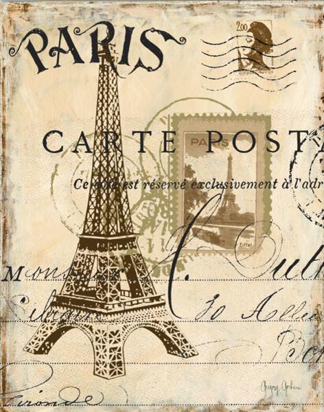 paris lithograph eiffel tower canvas wall art modern artwork by