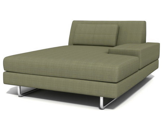 True Modern - Hamlin Chaise, Mouse - A stylish chaise is the best place to curl up with a movie or a good book. The sleek and wide design gives you plenty of space to stretch out in style. It comes in your choice of six upholstery colors, giving you plenty of options to style around.