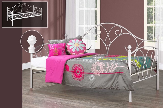 Sweet Heart White Wrought Iron Day Bed Frame ...