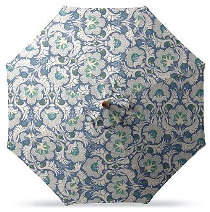 Outdoor Market Patio Umbrella in Sunbrella Morocco Garden Wave - Black Aluminum, traditional-outdoor-umbrellas