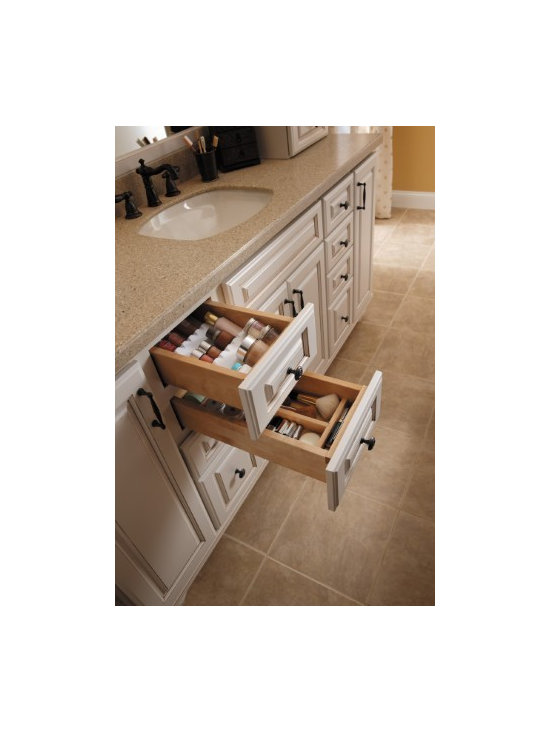 Getting Organized with Fieldstone Cabinetry - Re-purposing drawers designed for spices and cutlery, for make up and brushes.