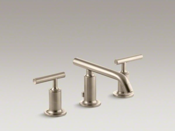KOHLER Purist(R) widespread bathroom sink faucet with low lever handles and low contemporary-bathroom-faucets-and-showerheads