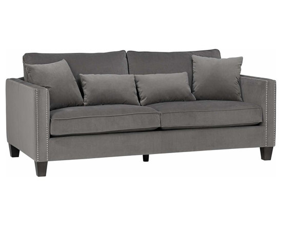 Cathedral Portsmouth Grey with Nailhead Trim 81-Inch-W Sofa - A trim and handsome sofa design in a stylish Portsmouth grey upholstery. Features nailhead trim on the arms and includes 4 matching pillows. Cathedral Portsmouth Grey with Nailhead Trim Sofa.