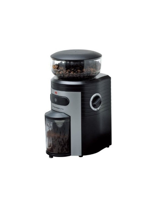 Espressione - Espressione Professional Conical Burr Coffee Grinder - Espressione's commercial quality grinder stands out from the rest with its powerful grinding conical mechanism and precision controlled engineering. Large 8.5 ounce hopper and 15 levels of grinding all provide convenience and versatility. Whether brewing coffee or making an espresso the grinder can complete the job fast. The finest setting is ideal for preparing Turkish coffee, which is a rare feature to find in a grinder. A built-in timer with quantity measure can make from 2 to 10 cups in a matter of seconds and will stop automatically when ready. Espressione Professional Conical Burr Coffee Grinder has an advanced conical burr design to reduce the amount of friction and heat thus preserving coffee flavor and aroma. The coffee container holds up to 4 ounces of grounds and remains sealed during grinding and is anti-static. Superior functions and smart design make Espressione Professional Conical Burr Coffee Grinder the ideal commercial quality grinder for your home and office.