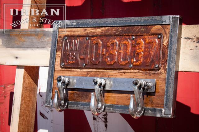 License Plate & Tow Hook Coat Rack industrial-wall-hooks