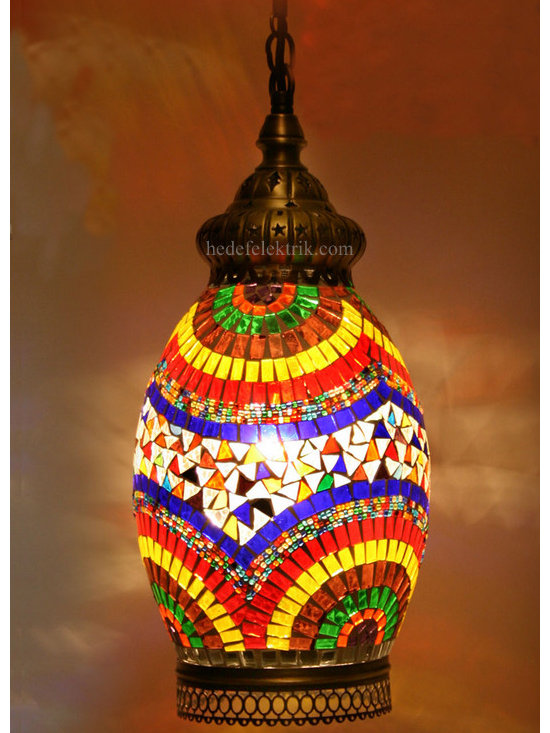 Turkish Style Mosaic Pendant Lamp 21 cm - Mosaic lamps are made of original colour of glasses. When the lamp is lit, the glasses cause colorful shades, which can suddenly change the ambiance of a room by its inspiring view. Noe of the glasses are painted nor applied a transaction. Each parts of the lamp are handmade.