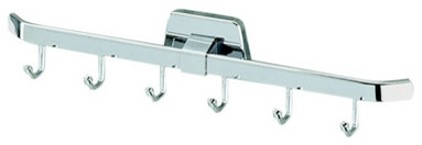 Chrome Towel or Robe Hook Rack with 6 Hooks contemporary-robe-and-towel-hooks