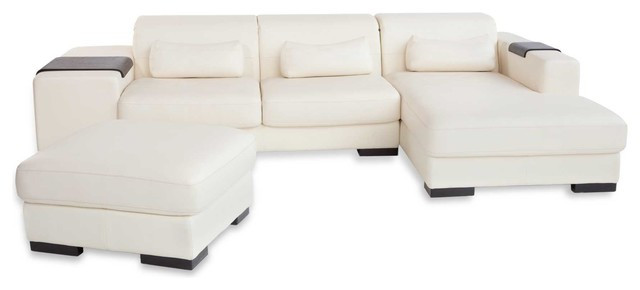 Bella Cappuccino Fabric 2 Piece Contemporary Right Chaise Sectional Sofa Set