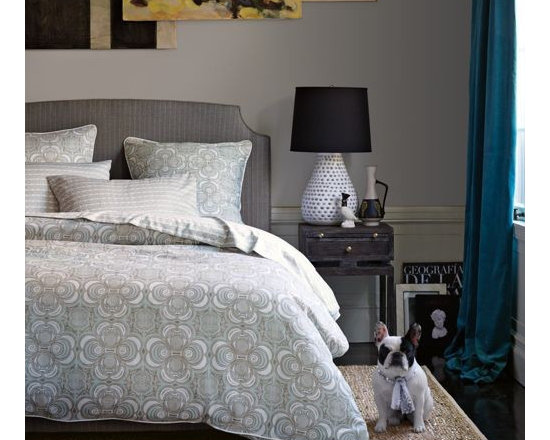 Serena & Lily - Wyeth Duvet - There are so many things to love about this bedding collection - the rhythmic pattern, the tranquil palette, the crisp mix of pattern. Versatile enough to keep things casual or strike a more formal note, it's the quintessential collection for a master bedroom.