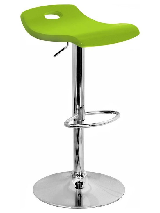 Lumisource - Surf Bar Stool with Footrest - Gentle wave seat provides comfort. Adjustable height. Easy to use hydraulics. Wooden Seat. Due to the natural variation in wood, color may vary slightly.. Polished chrome pole, base and footrest. Seat height: 23 - 32 in. H. 16 in. L x 16 in. W x 36 in. H (15 lbs.)A  gentle wave in the wood seat creates inviting curves and comfort in the Surf Barstool. Seat height is adjustable from 23 to 32 inches with easy to use hydraulics. Polished chrome pole, base, and footrest.  Bring the fun ambiance a Surf Barstool instills to your home or bar today!