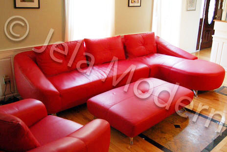 Red Modern Design Italian Leather Sectional Sofa & Ottoman with Side Chair Set contemporary-sofas