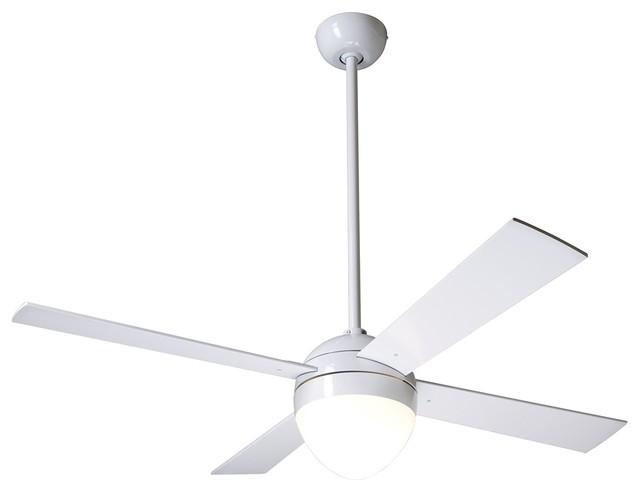 42 Modern Fan Gloss White Ball Light Kit Ceiling Fan: modern white ceiling fan