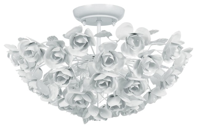 Crystorama White Wrought Iron Semi Flush Mount Fixture modern-flush-mount-ceiling-lighting