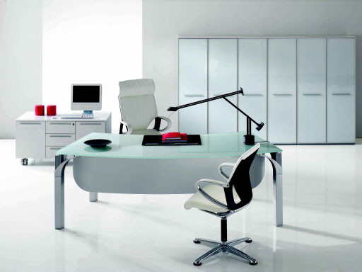 Palm Crystal Shaped Desk With Modesty Panel By DV Office modern-desks-and-hutches