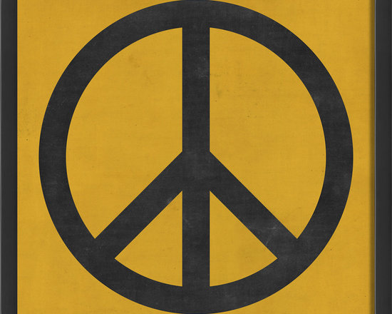 """The Artwork Factory - """"Peace"""" Print - Emblematic of the 1960s and all its political slogans, the """"Peace"""" sign first appeared in Britain, then extended its influence from there. The design's retained its enduring appeal, and is just as at home in today's interiors as it's always been. Hang this museum-quality, contemporary version anyplace in the house."""
