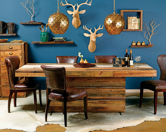 Alpine Resort - Unbelievably, gorgeous reclaimed wood in a very warm, rustic setting.  http://www.highfashionhome.com/tahoe-dining-table.html