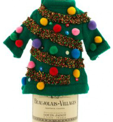 Green Ugly Sweater Bottle Cover eclectic-christmas-decorations