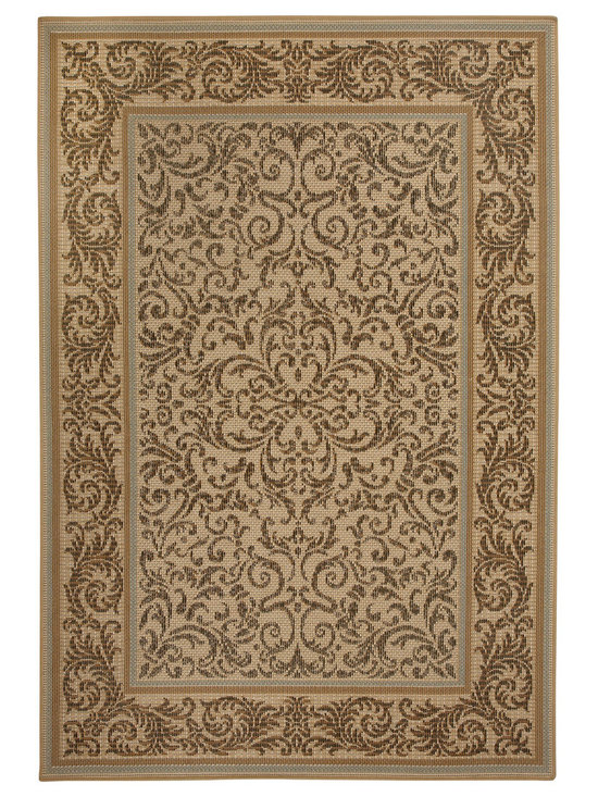 Terrace Vine rug in Gold - Wilton-woven for Indoor or Outdoor use, the Terrace Collection sets the standard for this category using seven colors - most indoor/outdoor rugs use two to three at most.