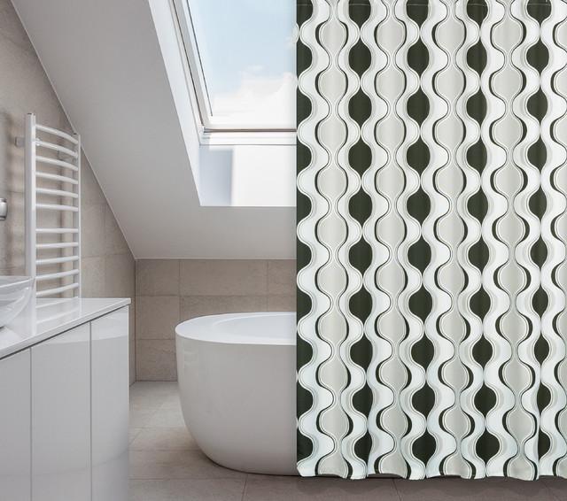 Aquarius Black Grey Hourglass Design 14 Piece Shower Curtain Set Contemporary Shower