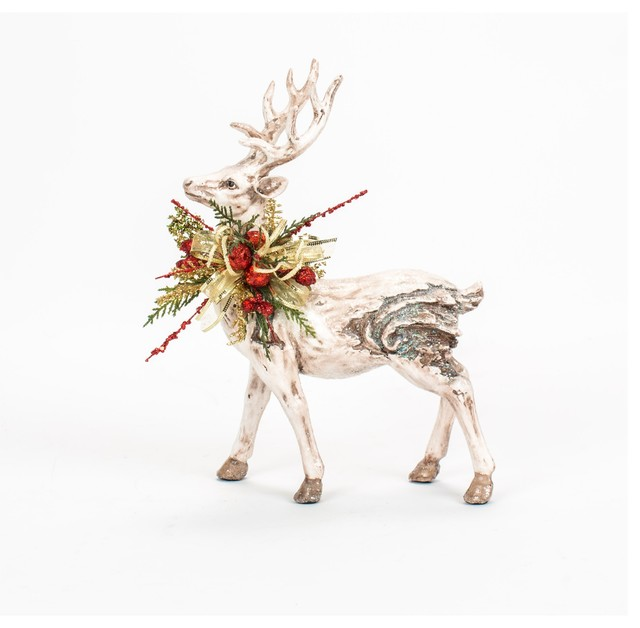 Christmas Decorated White Washed Glittered Deer traditional-holiday-decorations