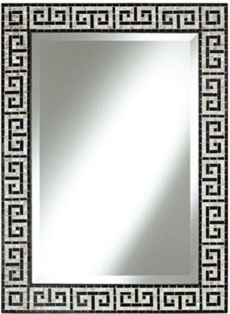 Greek Key 37 Inch High Black Tile Mosaic Wall Mirror Traditional Tile By Lamps Plus