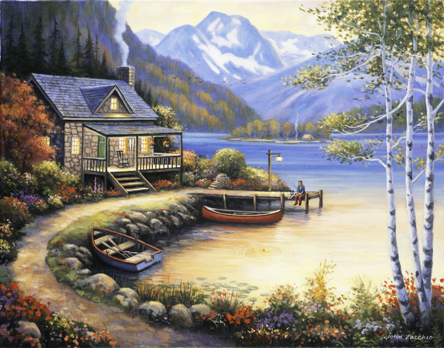 Fishing at the lake wall art rustic wallpaper by for Diving and fishing mural