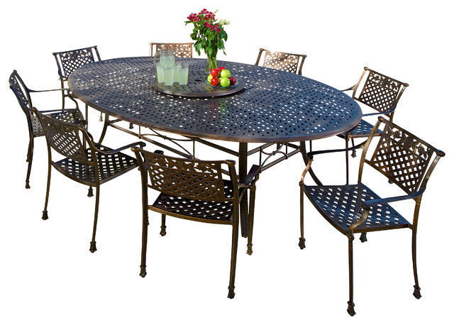 Magdalena 10pc outdoor copper cast aluminum dining set for Best deals on outdoor patio furniture