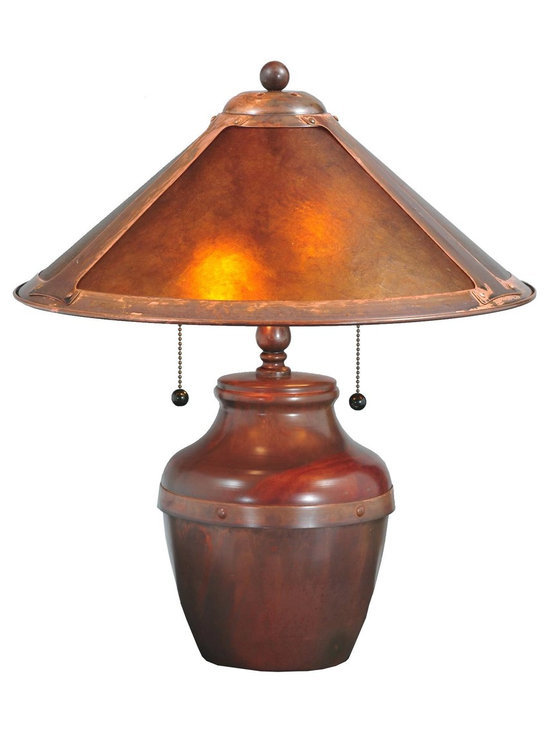 Meyda Tiffany - Meyda Tiffany Antique Reproductions Table Lamp in Amber Mica - Shown in picture: Van Erp Amber Mica Table Lamp; In the tradition of American master craftsman Dirk Van Erp - this appealing Copper frame with a hand washed patina - glows with the warmth of the natural Amber Mica panels within. The shade is supported by a traditional bean pot lamp base in matching Washed Copper finish.