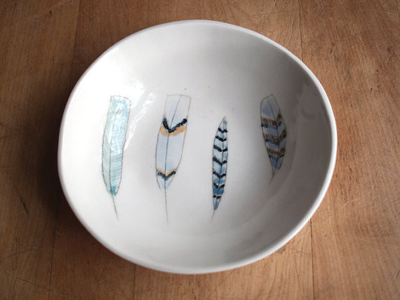 Feathers Bowl No. 67 by Villarreal Ceramics contemporary-platters