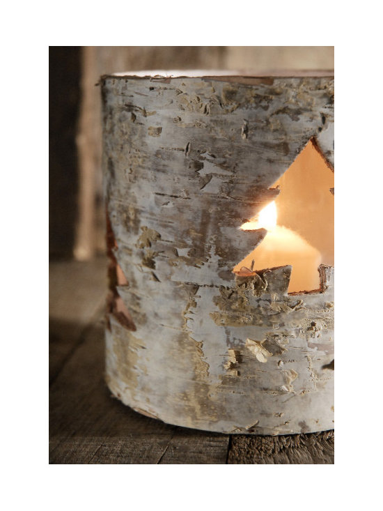 Birch Bark Candleholders with Cut-Out Tree -