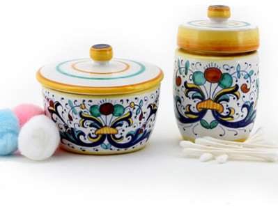 Ricco Deruta: Cotton Balls Jar and Cotton Swab Holder mediterranean-bath-and-spa-accessories
