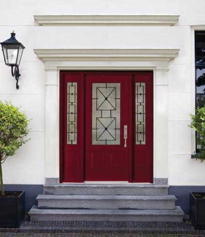 Single steel door with a doorlite 2 sidelites wrought for Exterior doors with screen insert
