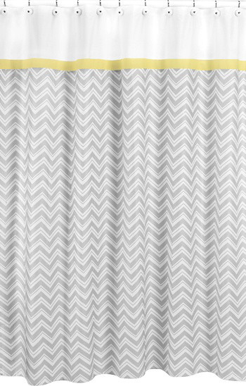 Zig Zag Yellow and Gray Shower Curtain by Sweet Jojo Designs contemporary-shower-curtains