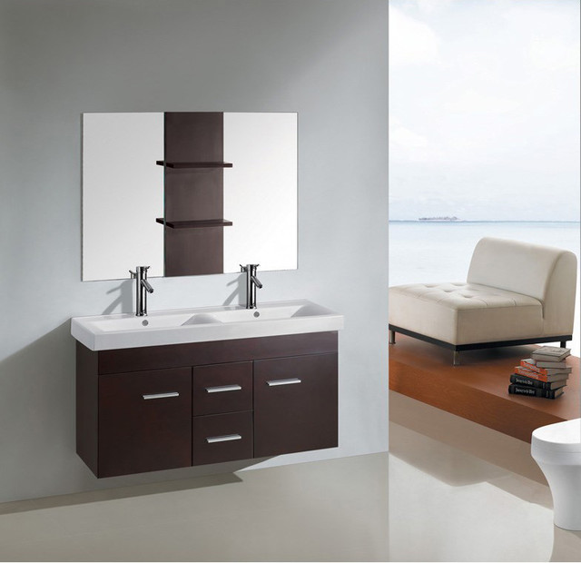 48 inch kokols wall floating bathroom vanity double for Floating bathroom cupboards