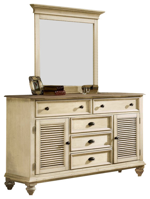 Riverside Furniture Coventry Shutter Door Dresser and Mirror Set in Dover White transitional-dressers-chests-and-bedroom-armoires