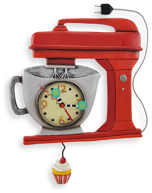 Allen Designs Red Vintage Kitchen Mixer Wall Clock with Cupcake