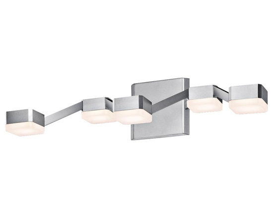 """Sonneman - Sonneman Lattice 20"""" Wide Frosted Nickel LED Bath Light - Lattice 5-light bathroom light or wall sconce. By Sonneman. Bright satin aluminum finish. Frosted acrylic shades. Includes five 13 watt LEDs. Light output is 1050 lumens. Comparable to a 75 watt incandescent bulb. 3000K color temperature. CRI is 80. Dimmable. 20"""" wide. 4 3/4"""" high. Extends 8 1/4"""" from the wall. Backplate is 4 3/4"""" high 5"""" wide.  Lattice 5-light bathroom light or wall sconce.  By Sonneman.  Bright satin aluminum finish.  Frosted acrylic shades.  Includes five 13 watt LEDs.  Light output is 1050 lumens.  Comparable to a 75 watt incandescent bulb.  3000K color temperature.  CRI is 80.  Dimmable.  20"""" wide.  4 3/4"""" high.  Extends 8 1/4"""" from the wall.  Backplate is 4 3/4"""" high 5"""" wide."""