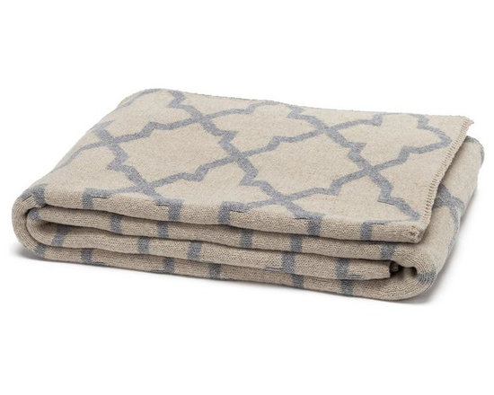 Eco Reversible Morocco Throw - Flax/Aluminum - This modern and supremely chic throw blanket in Aluminium Colour will make a big impact in any room. With its geometric design and super soft feel, use this blanket on a chaise, bed or chair to add style and a touch of glam to your interior.