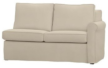 Cameron Roll Arm Right Arm Love Seat Sectional Slipcover, Linen Oatmeal traditional-slipcovers-and-chair-covers