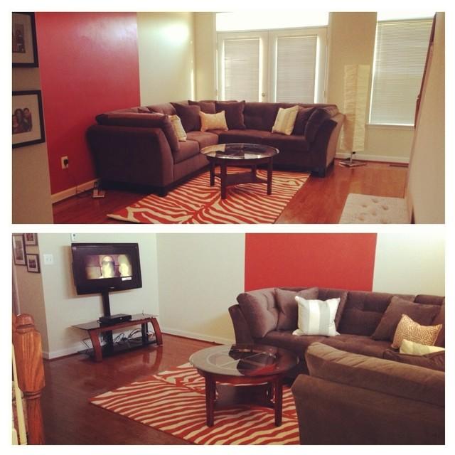 My Living Room Grey Ivory And Burnt Orange