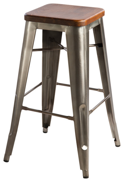 Hooligan bar stool steel rustic wood industrial bar stools and counter stools other - Rustic outdoor bar stools ...