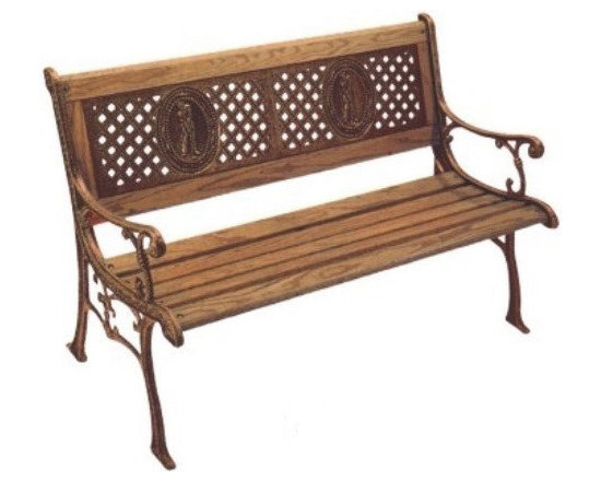 None - Kingsport Cast Iron Park Bench - Enjoy nature from the comfort of your own Kingsport park bench. The hardwood slats have a rich bronze finish that complements the weather-resistant cast-iron construction. This bench is a great addition to your garden or porch.